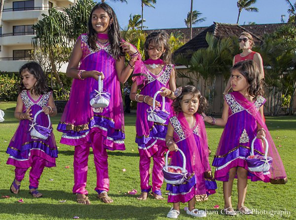 Indian wedding flower girls ceremony in Lahaina, HI Indian Wedding by Graham Chappell Photography