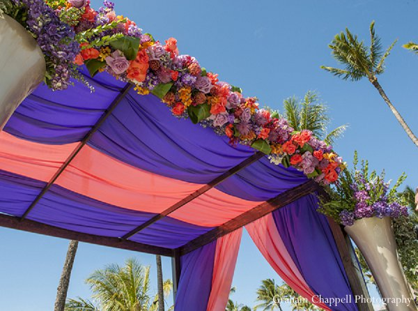 Indian wedding mandap decor floral in Lahaina, HI Indian Wedding by Graham Chappell Photography