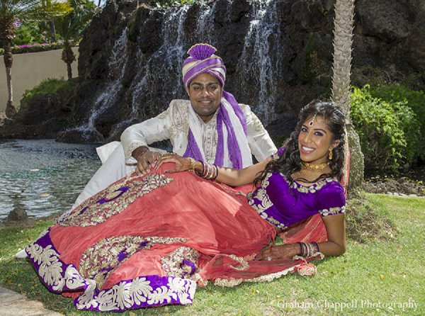 Indian wedding photography pink purple in Lahaina, HI Indian Wedding by Graham Chappell Photography