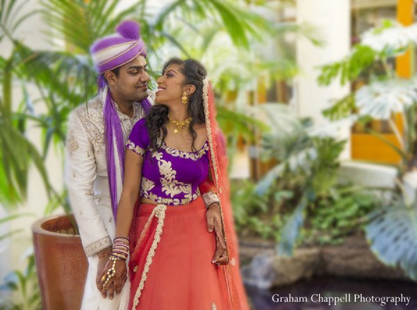 Indian wedding pink choli bride in Lahaina, HI Indian Wedding by Graham Chappell Photography