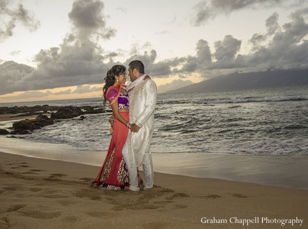 Indian wedding portraits beach groom bride in Lahaina, HI Indian Wedding by Graham Chappell Photography