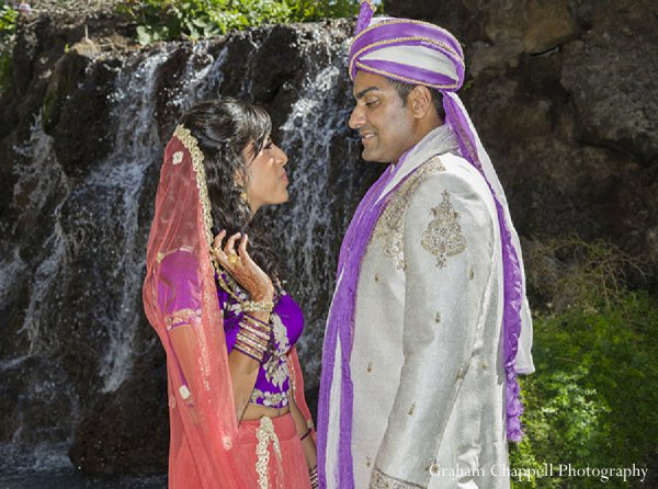 Indian wedding portraits bride groom waterfall in Lahaina, HI Indian Wedding by Graham Chappell Photography