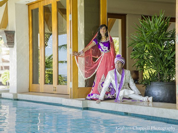 Indian wedding portraits bride groom in Lahaina, HI Indian Wedding by Graham Chappell Photography