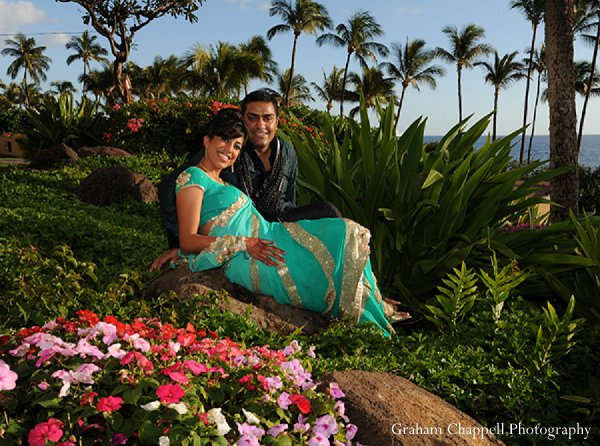 Indian wedding portraits sangeet groom bride in Lahaina, HI Indian Wedding by Graham Chappell Photography