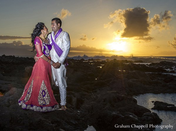 Indian wedding portraits sunset beach in Lahaina, HI Indian Wedding by Graham Chappell Photography