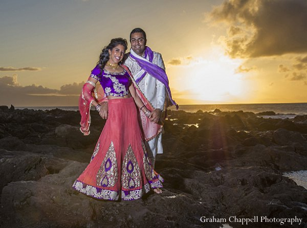 Indian wedding portraits sunset bride groom in Lahaina, HI Indian Wedding by Graham Chappell Photography