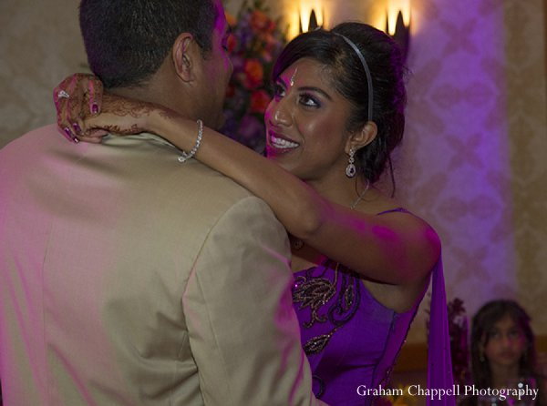 Indian wedding reception bride dancing in Lahaina, HI Indian Wedding by Graham Chappell Photography