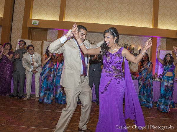 Indian wedding reception groom bride dance in Lahaina, HI Indian Wedding by Graham Chappell Photography