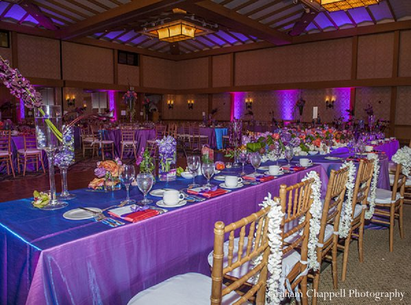 Indian wedding reception table decor in Lahaina, HI Indian Wedding by Graham Chappell Photography