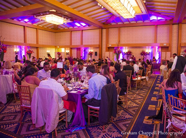 Indian wedding reception venue decor in Lahaina, HI Indian Wedding by Graham Chappell Photography