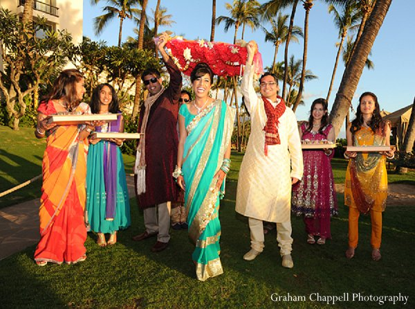 Indian wedding sangeet bride turquoise in Lahaina, HI Indian Wedding by Graham Chappell Photography