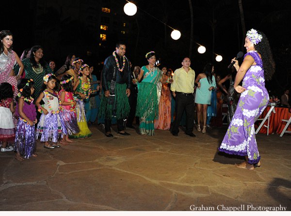 Indian wedding sangeet hula bride in Lahaina, HI Indian Wedding by Graham Chappell Photography