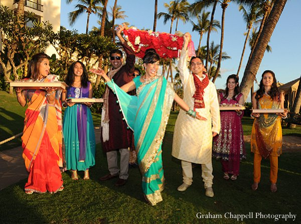 Indian wedding sangeet turquoise lengha in Lahaina, HI Indian Wedding by Graham Chappell Photography