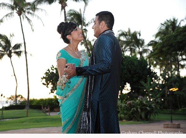 Indian wedding turquoise lengha sangeet portraits in Lahaina, HI Indian Wedding by Graham Chappell Photography