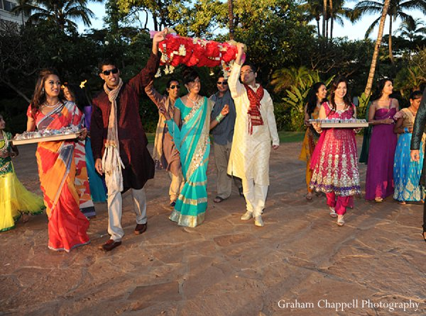 Indian wedding turquoise lengha sangeet in Lahaina, HI Indian Wedding by Graham Chappell Photography