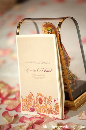 Indian wedding ceremony program stationary in Dallas, Texas Indian Wedding by Greg Blomberg