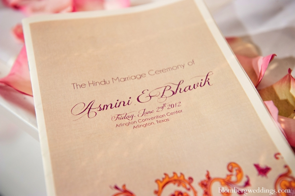 Indian wedding ceremony program paper inspiration in Dallas, Texas Indian Wedding by Greg Blomberg