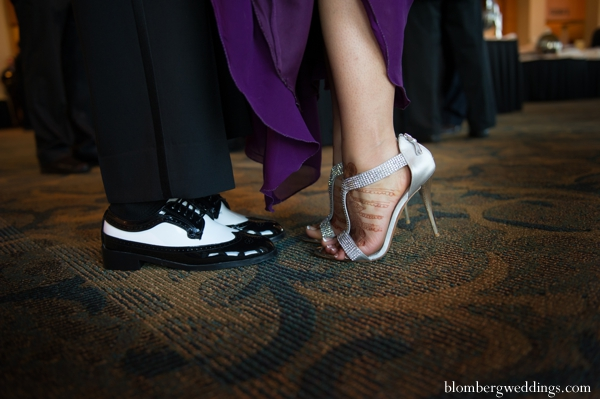 Indian wedding reception bride groom shoes in Dallas, Texas Indian Wedding by Greg Blomberg