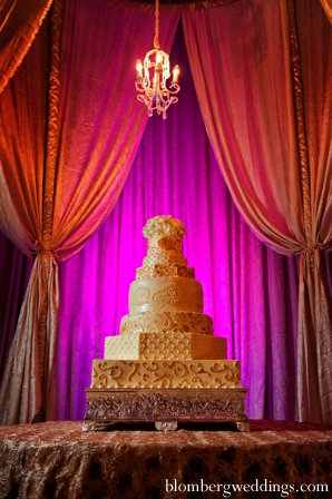 Indian wedding reception cake in Dallas, Texas Indian Wedding by Greg Blomberg