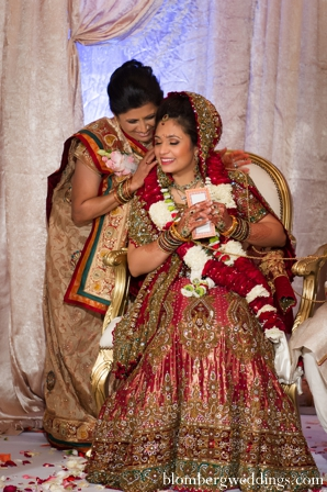 Indian wedding reception lengha traditional jai mala in Dallas, Texas Indian Wedding by Greg Blomberg
