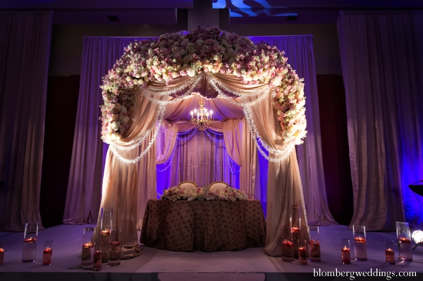 Indian wedding reception sweetheart table inspiration floral in Dallas, Texas Indian Wedding by Greg Blomberg