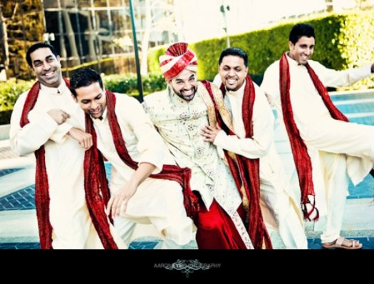 Indian-wedding-groomsmen-white-red-outside