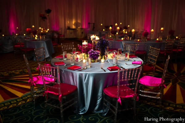 hot pink,table-setting,indian wedding reception,reception table setting,indian wedding venue,indian wedding reception lighting,haring photography
