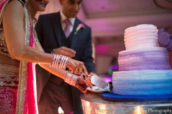 Indian wedding bride groom cake cutting in Fort Lauderdale, Florida Indian Wedding by Haring Photography