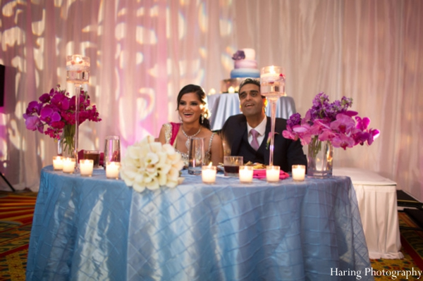 Indian wedding bride groom sweethearts table in Fort Lauderdale, Florida Indian Wedding by Haring Photography