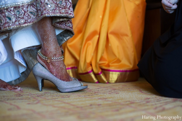 Indian wedding bride bridal shoes in Fort Lauderdale, Florida Indian Wedding by Haring Photography