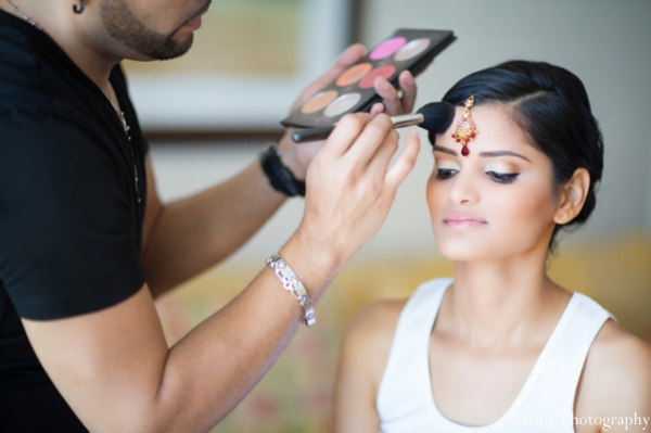 Indian wedding bride getting ready hair makeup in Fort Lauderdale, Florida Indian Wedding by Haring Photography