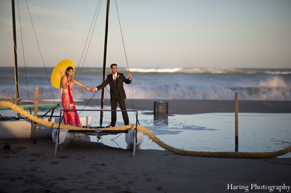 Indian wedding outdoor ocean portrait in Fort Lauderdale, Florida Indian Wedding by Haring Photography
