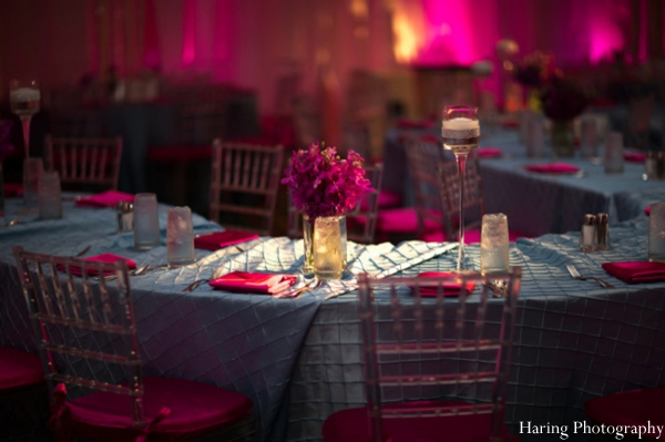 Indian wedding reception decor table setting in Fort Lauderdale, Florida Indian Wedding by Haring Photography