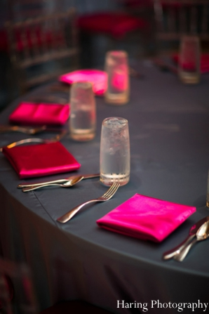 Indian wedding reception table setting in Fort Lauderdale, Florida Indian Wedding by Haring Photography