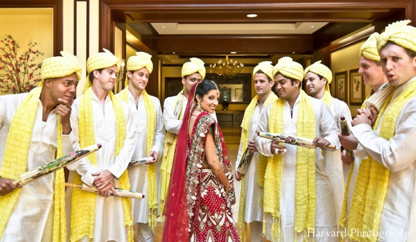 Indian wedding bride and groomsmen