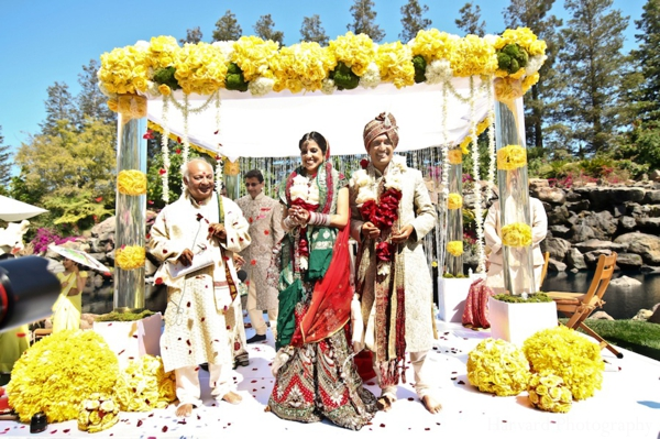 Indian wedding bride groom mandap outdoors