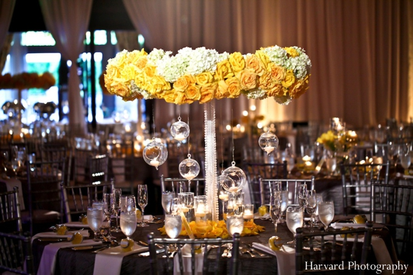 Indian wedding centerpiece floral table setting
