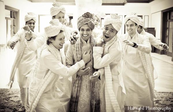 Indian wedding groom and groomsmen portrait