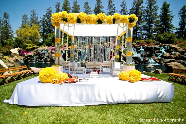 Indian wedding outdoor mandap bright