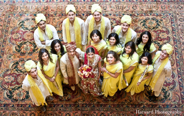 Indian wedding party portrait bright