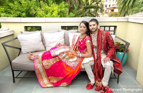 Indian bride groom wedding portraits in Santa Monica, California Indian Wedding by Harvard Photography
