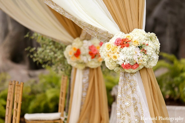 Indian wedding mandap floral decor in Santa Monica, California Indian Wedding by Harvard Photography