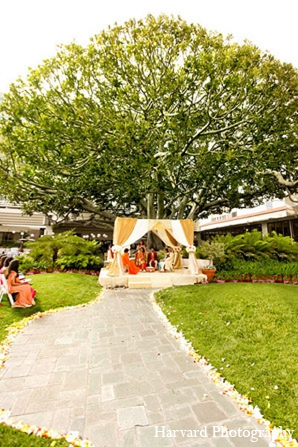 Indian wedding mandap venue outdoor in Santa Monica, California Indian Wedding by Harvard Photography