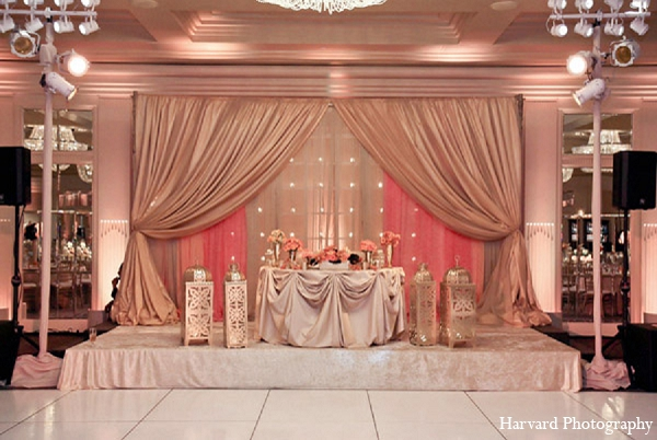 Indian wedding reception venue decor in Santa Monica, California Indian Wedding by Harvard Photography
