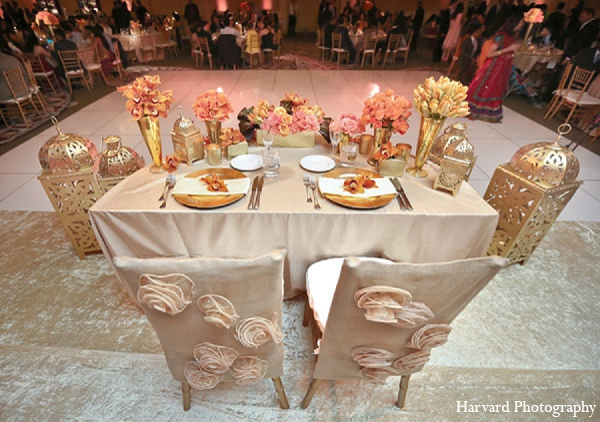 Indian wedding table decor reception in Santa Monica, California Indian Wedding by Harvard Photography