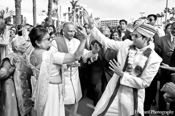 Indian wedding baraat groom in Newport Beach, Cailfornia Indian Wedding by Harvard Photography