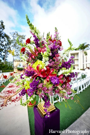 Indian wedding ceremony decor floral in Newport Beach, Cailfornia Indian Wedding by Harvard Photography