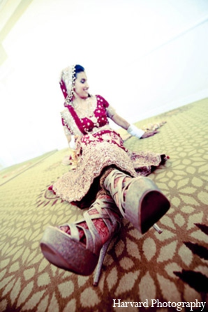 Indian wedding bride shoes in Huntington Beach, CA Indian Wedding by Harvard Photography