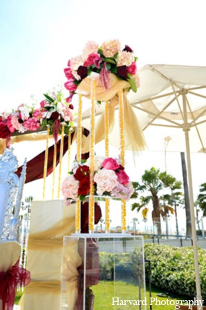 Indian wedding ceremony mandap in Huntington Beach, CA Indian Wedding by Harvard Photography