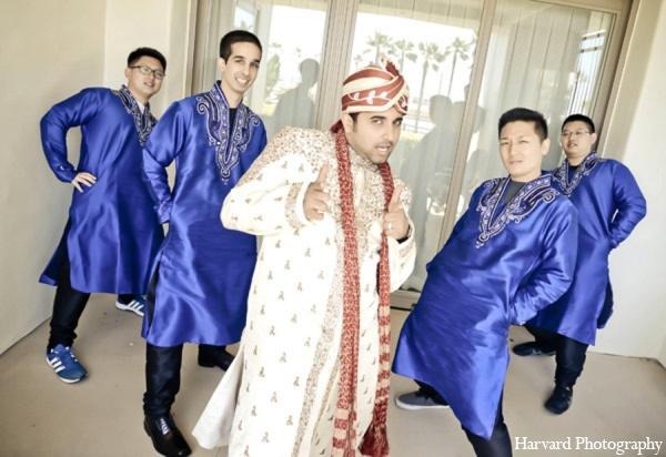 Indian wedding groomsmen in Huntington Beach, CA Indian Wedding by Harvard Photography